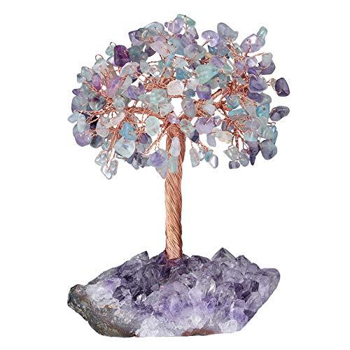 mookaitedecor Natural Fluorite Crystal Tree with Amethyst Cluster Crystal Base Money Tree Figurines Feng Shui Desk Decoration, Meditation Table Altar Decor