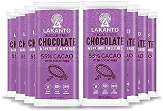 Lakanto Sugar-Free Chocolate Bars, 55% Dark Cacao, Keto (Cocoa Nibs, 8-Pack)