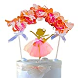 3D Artificial Flower Arch & Gold Glitter Ballerina In Tulle Tutu Cake Topper Set For Girl's Birthday Party,Wedding,Princess or Ballet Theme Party Cake Decoration. Assembled Already