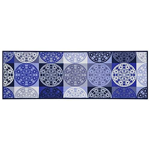 Teppich Boss Küchenläufer Ornamente blau, waschbar und rutschfest, 50x150 cm