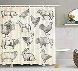remmber me Bauernhof Huhn Duschvorhang Sammlung Nutztiere gezeichnet Tier Kuh Schwein Skizze Home Decor Stoff Duschvorhang Badezimmer Polyester Bad Vorhang mit 12 Haken 60 x 72 Zoll
