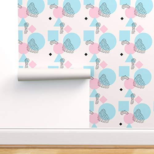 rosa, türkis, Punkte, 80er Jahre, grafisch, skandinavisch Spezialangefertigte Vorgekleisterte Tapete 61 cm x 310 cm von Spoonflower