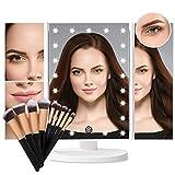 Espejo de Maquillaje, Espejo de Mesa con Luz Sets de Brochas Maquillaje 1X/2X/3X/10X Aumento 21 LED en Iluminacíon Espejo Tríptico Rotación de 180° Cosmético Pantalla Táctil Espejo