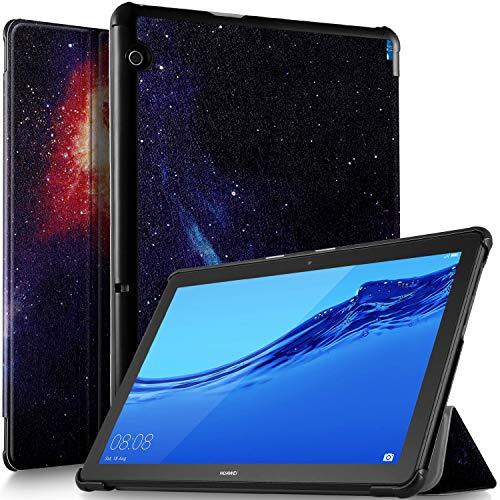 ELTD Custodia Cover per Huawei MediaPad T5 10, Pelle con Funzione di Stand Flip Copertina Smart Case Cover per Huawei MediaPad T5 10 10.1' 2018, Navy Night Sky