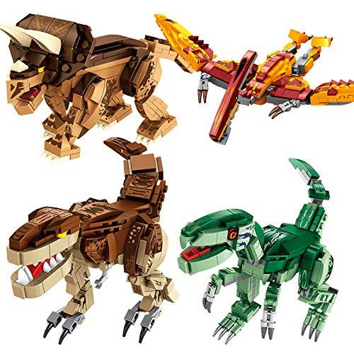 Seasy Juego de construcción de dinosaurios, aeronáuticos, Velociraptores, Tyrannosaurus y Triceratops, modelo coleccionable, 979 piezas, compatible con dinosaurios Lego.