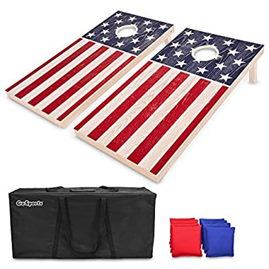GoSports Regulation Size Solid Wood Cornhole Set – American Flag Design – Includes Two 4' x 2' Boards, 8 Bean Bags, Carrying Case and Game Rules