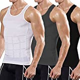 COOFANDY Men's 3 Pack Compression Shirt Slimming Body Shaper Waist Girdle Shirt Gym Workout Tank Tops