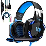 Kotion Each Cuffie Gaming Over Ear Cuffie da Gioco ave Microfono 3.5mm Jack Bass Gamer Headphone Stereo Audio Surround Cuffia Gaming Headset per PS4 Xbox One PC Laptop Tablet (Blue)