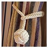 Vankra - Coppia di fermatende con nappa, fatti a mano, in corda di cotone bianco...