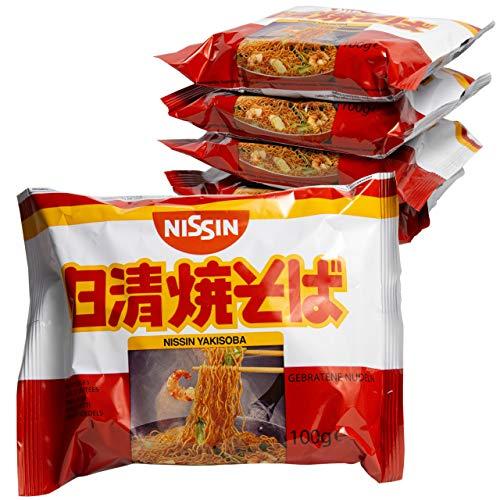Fideos Yakisoba NISSIN - Noodles Fritos 5 paquetes de 100gr | Tallarines japoneses Ramen | Fácil de preparar