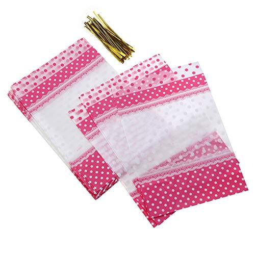 BESTONZON 50 sacs de bonbons d'emballage sacs de points de couleur Biscuits Biscuits Snacks Sacs d'emballage avec des liens - 24x16cm (rose)