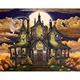 5D Diamond Painting Kit for Adults, Full Round Drill DIY Diamond Painting by Numbers Diamond Kit for Home Wall Decor Halloween Haunted House 15.7x11.8in 1 Pack by Toyvip