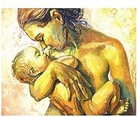 子供と大人のためのDIY油絵キットキットの数字でペイント母と赤ちゃん40x50cmフレームなし家の装飾フレームレス