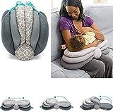 Cojín Lactancia Almohadas de Lactancia 3 EN 1 para Embarazo y Bebé con Cubierta de Algodón Lavable Extraíble Almohada Maternal de Apoyo para Cuerpo