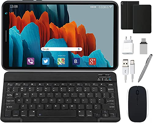 Tablet Android 10 Quad-Core 1.6GHz 1280 x 800 IPS Pantalla HD, 3GB RAM y 32 GB ROM | 128GB Escalable, Tableta con Teclado y Mouse GPS Bluetooth/OTG Tablets de 8 Pulgadas (Negro)
