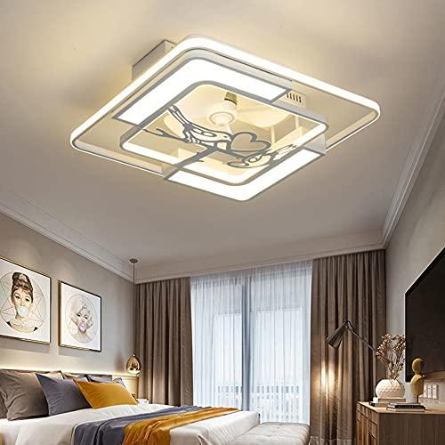 Ventilador De Techo con Luz, LED con Control Remoto Regulable Y Velocidad del Viento Silencioso Plafon Ventilador Lampara,48W-63Wniño Habitacion Dormitorio Sala De Estar Plafones,Style 2 Square