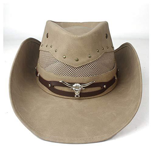 Xuguiping 100% leer heren Western Cowboy hoed voor Gentleman Dad Cowboy Sombrero Hombre Caps maat 58-59 cm 58-59cm kaki