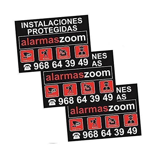 Cartel rígido instalaciones protegidas alarmaszoom color negro Cartel alarma Formato A4. Gran tamaño. Exterior (3 Carteles rígidos)