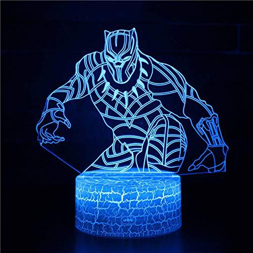Panther B 3D LED noche luz ilusión lámpara 16 luces cambiantes de color con acrílico plano y base ABS y cargador USB como decoración del hogar y un mejor regalo