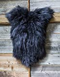 ESTRO | Tappeto in Pelle di Pecora Icelandic Autentico | Brillante e Lussuoso | varietà di Colori ESI (Nero, 110 cm)