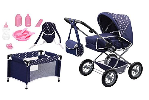 Bayer Design 1505115 poppenwagen Grande set met bed en accessoires voor poppen, 46 cm, blauw