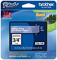 Genuine Brother 3/4 (18mm) White on Clear TZe P-touch Tape for Brother PT-1950 PT1950 Label Maker [並行輸入品]