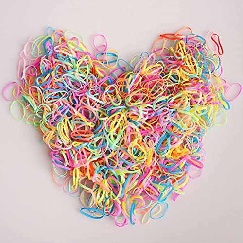600 Pieces Large Colored Elastic Rubber Bands Hair Ties for Girls with a Box and 2 Pcs Hair Tail Tools for Toddlers Girls Women, Reuseable