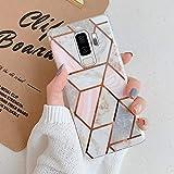 Uposao Custodia Compatibile con Samsung Galaxy S9 Plus Marmo Marble Design Gold Gradient Cubes TPU Gel Protettivo Skin Cover Motivo Geometrico Creativo Morbida Antiurto in Gel,Marmo Rosa Grigio