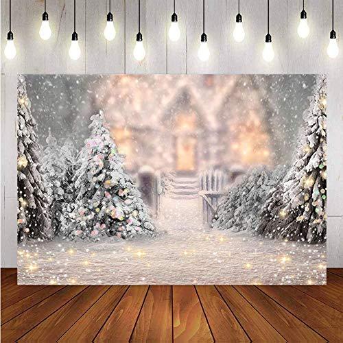 Fondo de fotografía Copo de Nieve de Invierno Decoración de árbol de Navidad Telón de Fondo para Estudio fotográfico Eventos de Fiesta A1 5x3ft / 1.5x1m