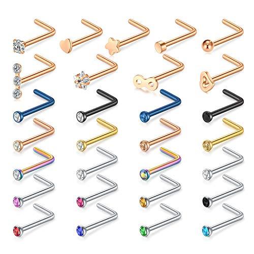 Zolure 20G L en Forma de aro Anillo de la Nariz Stud 20G CZ joyería Piercing de Nariz 29 Piezas Oro Rosa