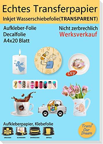 TransOurDream ECHTE Inkjet Wasserschiebefolie(TRANSPARENT) für Tintenstrahldrucker,A4X20 Blatt, für DIY-Kerzen, Spielzeugmodelle,Tassen,Keramik, Glas, Kerzen, Kunststoff (Trans-6-20)