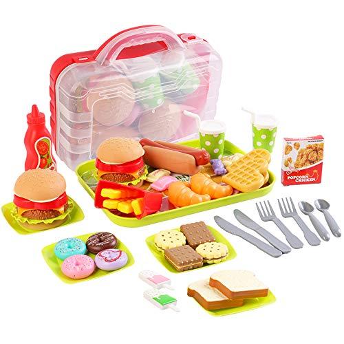 deAO Gioco di Fast Food Ristorante Burger e Negozio di Dolciumi Set per Bambini Include 25 Pezzi e Scatola di Immagazzinaggio Accessori da Cucina Giocattolo attività Educativa