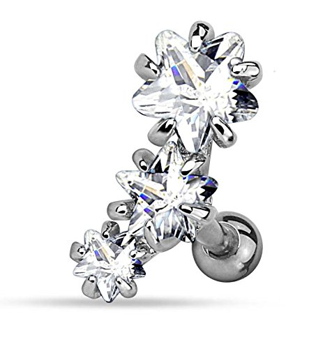 Kultpiercing - Helix Tragus Piercing Ohrpiercing Cartilage Stecker Triple Star Klar