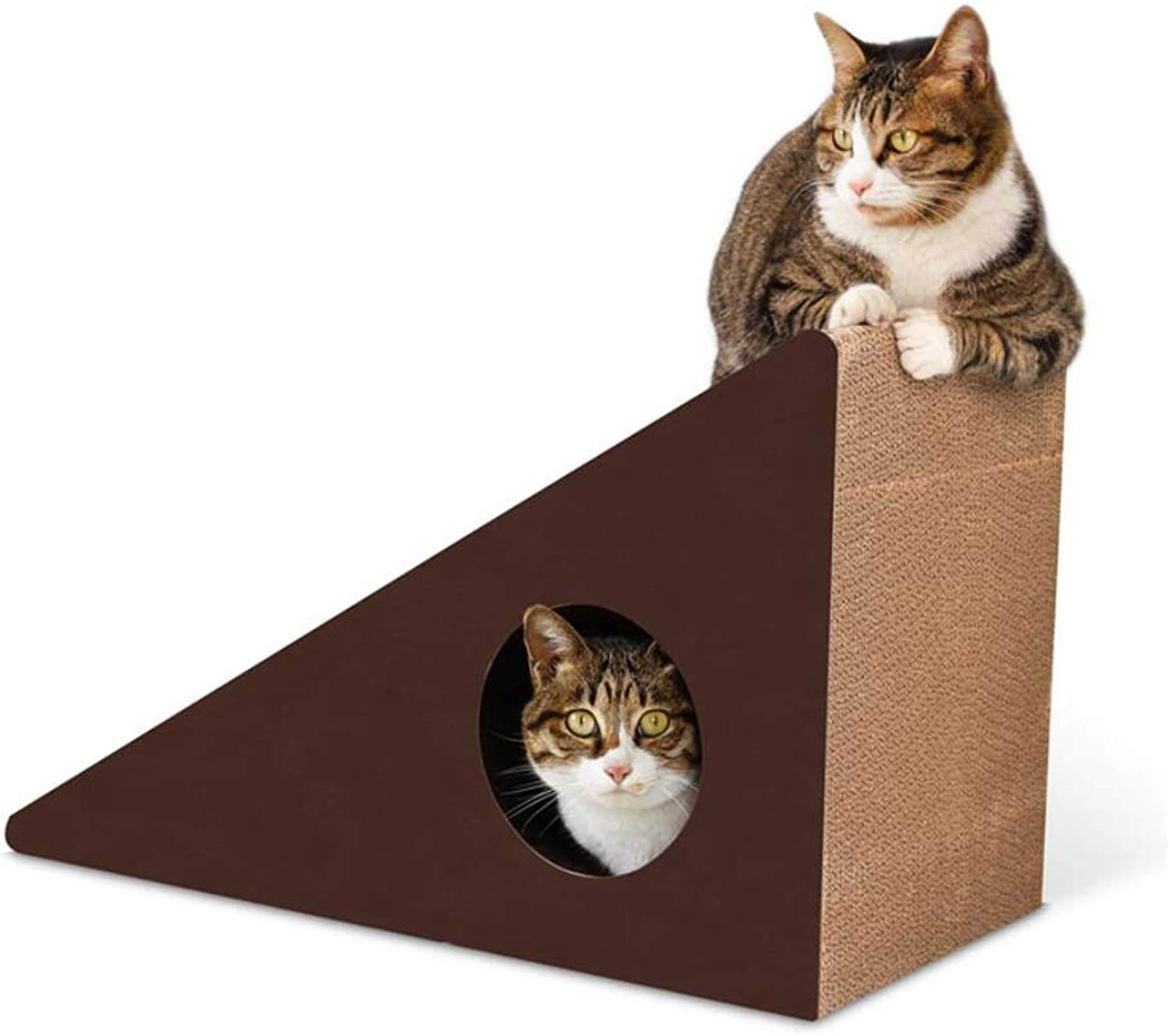 Cat House, Cats Scratch Board, Cat Claw Toy, MultiFunction Triangle Corrugated Paper Large Size (color   A)