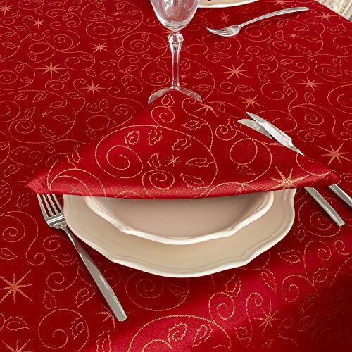 Bg Europe Tovaglioli Con Stelle Di Natale Di Alta Qualità; Ref. Christmas Star Red, Trattamento Anti Macchia, Colore Rosso (6 Tovaglioli 18 X 18\