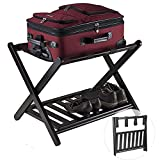 TKI-S Luggage Racks for suitcases Stand Foldable Luggage Rack for Guest Room with Shoe Shelf for Hotel, Guest Room,Bedroom, Gym, Spa