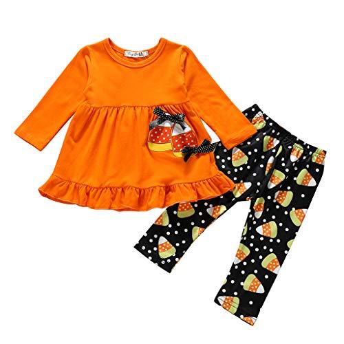 2PC Toddler Little Girls Ruffle Dress Tops Leggings Pants Halloween Clothing Set , Girls Outfits&Set for Halloween Day (Orange80)