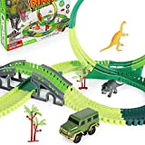 SHANNA Pistas de Dinosaurios Juguete Coche de Carreras Juego de Juguetes Vías de Tren Flexibles Juego de Rompecabezas Dinosaurio Juguetes para niño Niña Cumpleaños (Pistas Juguete A)