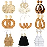 Hazms 9 Pairs Rattan Earrings Tassel Earrings for Women Girls Lightweight Acrylic Geometric Statement Woven Bohemian Earrings Handmade Straw Wicker Braid Hoop Drop Dangle Earrings