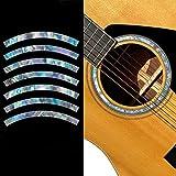 Adhesivos para guitarra acústica con incrustaciones, diseño de roseta, rayas y abulón
