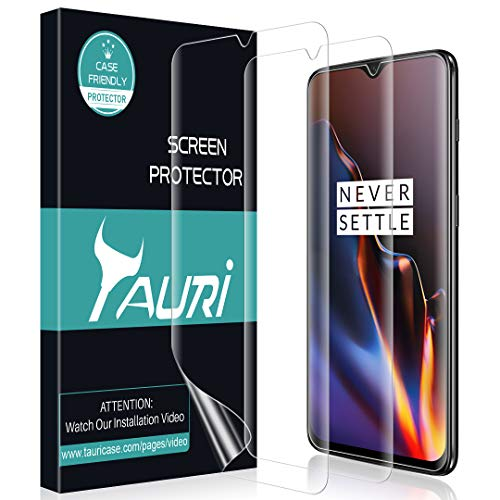 TAURI [3-Pack] Screen Protector for Oneplus 6T, Full Coverage Screen Protector Case-Friendly Anti-Bubble HD Clear Flexible Film, Lifetime Replacement Warranty