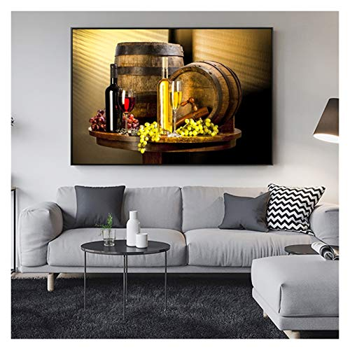 CCZWVH Pinturas de Arte de Vino de UVA en la Pared Datos de Vino con Pared de UVA Lienzo de Lienzo Imágenes Decorativas para Sala de Cocina 24x36 Inch Sin Marco