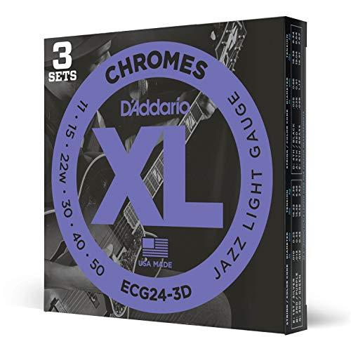 D'Addario ECG24 Chromes Flat wound Electric Guitar Strings, Jazz Light, 11-50, 3 Sets (ECG24-3D)