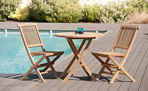 MACABANE 500984 Table Ronde Pliante 80 x 80 Couleur Brut en Teck Dimension 80cm X 80cm X 75cm