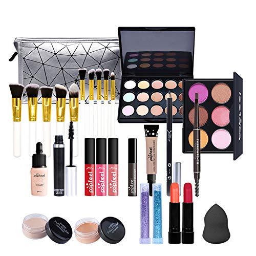 28 piezas Kits de Maquillaje, Set de Cosméticos Todo en Uno, Set de Regalo de Maquillaje Kit de Inicio Completo con Sombras de Ojos, lápiz Labial, Kit de Cosméticos para Niñas Mujeres
