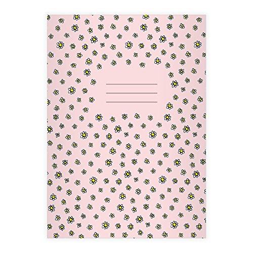 Kartenkaufrausch 2 Schöne DIN A4 Schulhefte, Schreibhefte mit Streu Gänseblümchen auf rosa Lineatur 27 (liniertes Heft)
