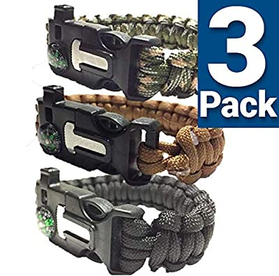 SURVIVAL BRACELETS S/M/L (PARACORD 550/ 3 PACK) With Firestarter / Compass / Whistle / 120-150 Inch (medium)