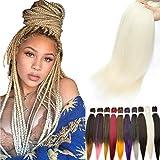 5pcs 66cm Pre-Stretched Easy Trenzas Extensiones de Pelo Yaki Braiding Twist Crochet Hair Profesional Fibra Sintético para Trenzas Africanas Box Braids Rubio Blanqueador
