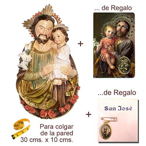 Heraldys.- Figura San José 30cms. para Colgar en la Pared, en Resina, Pintada a Mano. De Regalo Medalla y Estampa