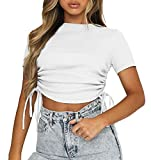 Slim Fit Running Womens Shirts Short Sleeve Cropped Tops Gym Athletic T Shirts Dance Workout Crop Tops for Teen Girls Sport White Large